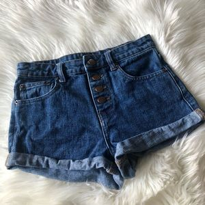 Forever 21 Exposed Button Up Jean Shorts High Rise